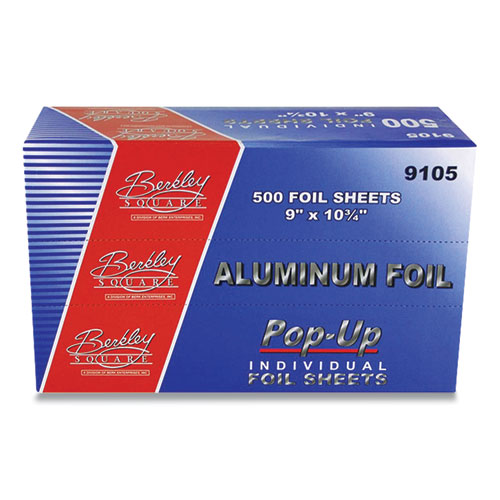 "Berkley Square Pop-Up Aluminum Foil, 9"" x 10"", 500 Sheets/Pack, 6 Packs/Carton"
