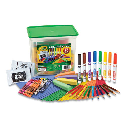 Creativity Tub, Crayons, Markers, Colored Pencils, Construction Paper, 80 Pieces