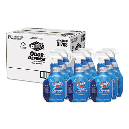 Commercial Solutions Odor Defense Air/Fabric Spray, Clean Air, 32 oz Bottle, 9/Carton