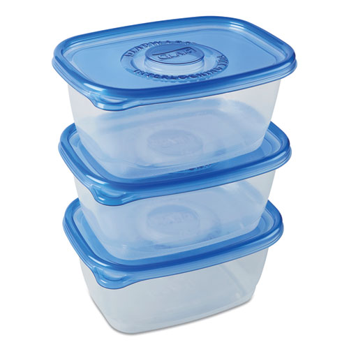 Deep Dish Food Storage Containers, 64 oz, 3/Pack, 6 Packs/Carton