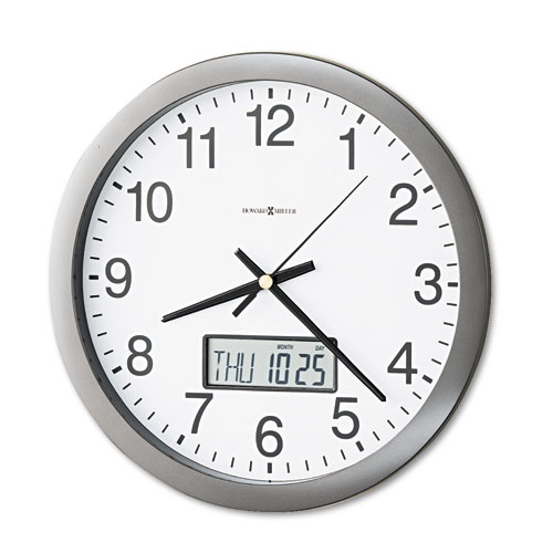 Chronicle Wall Clock with LCD Inset, 14 Overall Diameter, Gray Case, 1 AA (sold separately)