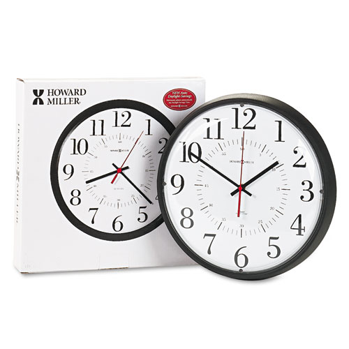 Alton Auto Daylight Savings Wall Clock, 14 Overall Diameter, Black Case, 1 AA (sold separately)