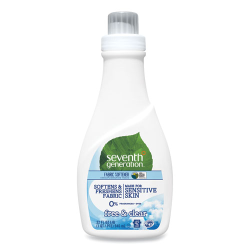 Natural Liquid Fabric Softener, Free and Clear, 42 Loads, 32 oz Bottle, 6/Carton