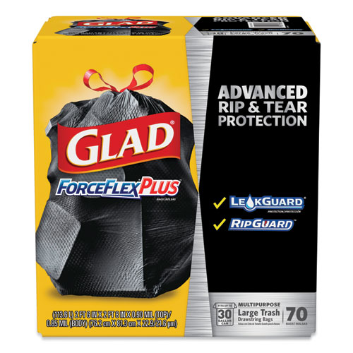 "Glad® ForceFlexPlus Drawstring Large Trash Bags, 30 gal, 1.05 mil, 30"" x 32"", Black, 70/Box"
