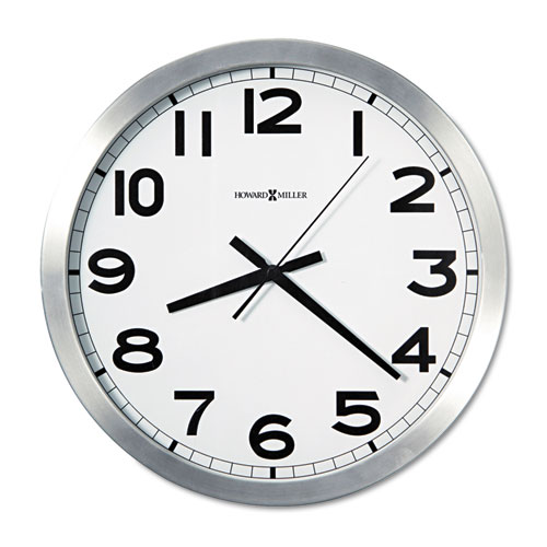 Spokane Wall Clock, 15.75 Overall Diameter, Silver Case, 1 AA (sold separately)