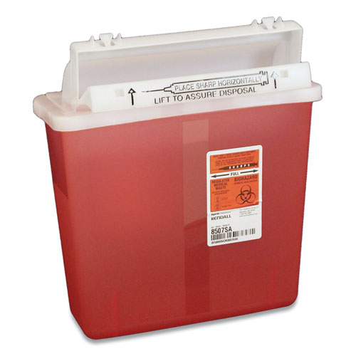 Sharps Containers, Polypropylene, 5 qt, Red, 5/Box