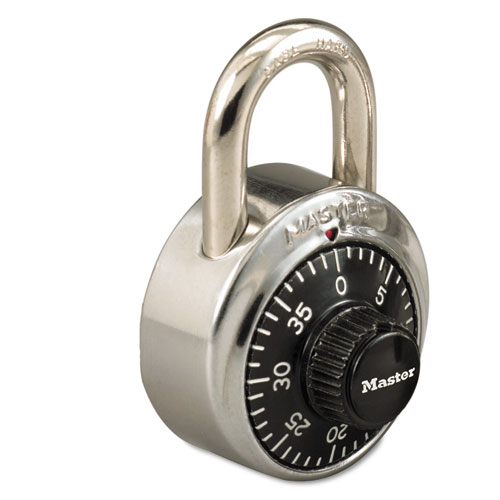 Combination Stainless Steel Padlock w/Key Cylinder, 1 7/8 Wide, Black/Silver