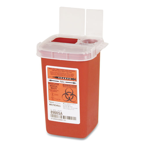 Sharps Containers, Polypropylene, 1 qt, Red, 10/Box