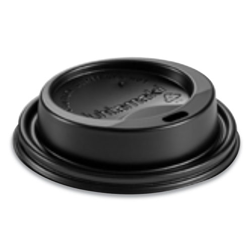Hot Cup Lids, Fits 8 oz Hot Cups, Dome Sipper, Black, 1,000/Carton