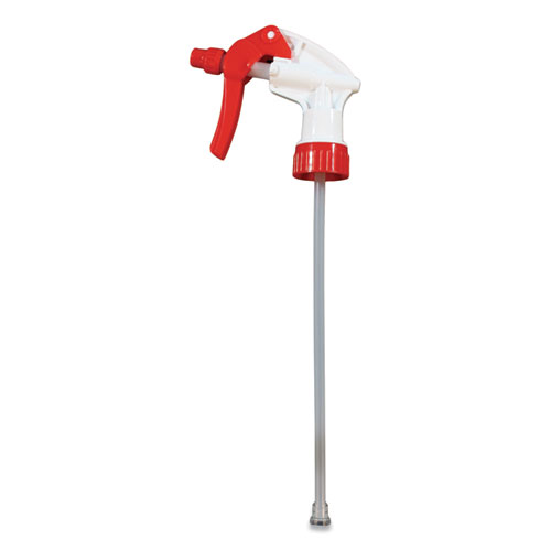 General Purpose Trigger Sprayer, 8.13 Tube, Fits 24 oz Bottles, Red/White, 24/Carton