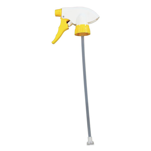 Chemical Resistant Trigger Sprayers, 9.88 Tube, Fits 32 oz Bottles, Yellow/White, 24/Carton