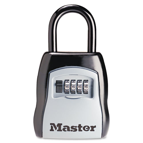 Locking Combination 5 Key Steel Box, 3 1/4w x 1 5/8d x 4h, Black/Silver