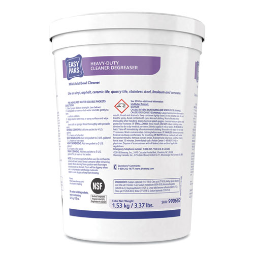 Heavy-Duty Cleaner/Degreaser, 1.5 oz Packet, 36/Tub, 2 Tubs/Carton