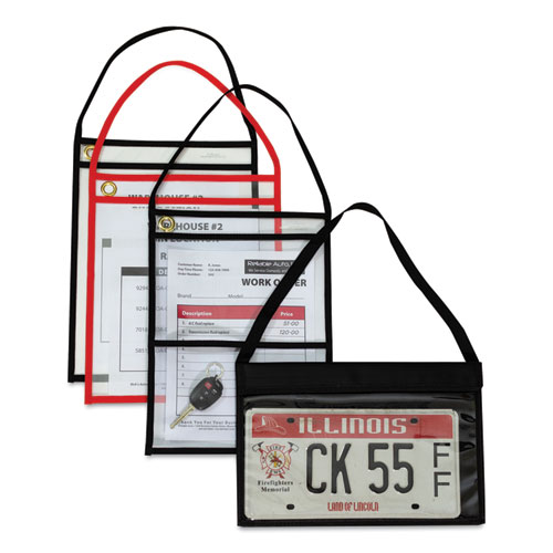 """C-Line 41922 Shop Ticket Holder with Strap Black Stitched 75/"""" 9 x 12 Box of 15"""
