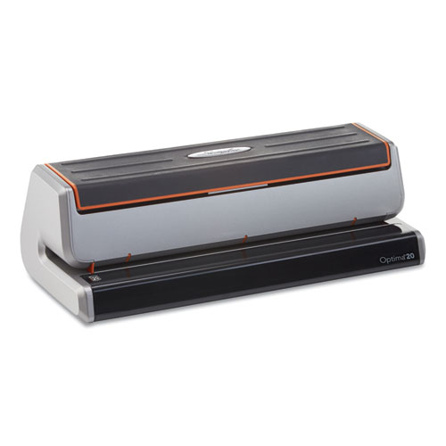 Optima 20 Three-Hole Electric Punch, 20-Sheets, 9/32 Holes, Silver/Black