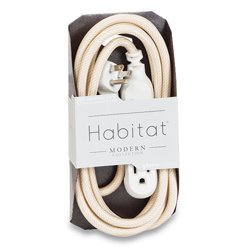 Habitat Accent Collection Braided AC Extension Cord, 8 ft, 13 A, Gold