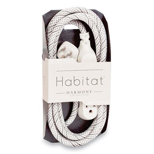 Habitat Accent Collection Braided AC Extension Cord, 8 ft, 13 A, French Gray