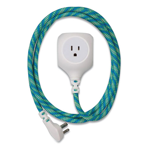Habitat Accent Collection Braided AC/USB Extension Cord, 6 ft, 13 A, Mint Julep