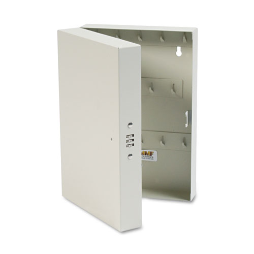 Hook-Style Key Cabinet, 28-Key, Steel, Putty, 7-3/4w x 3-1/4d x 11-1/2h