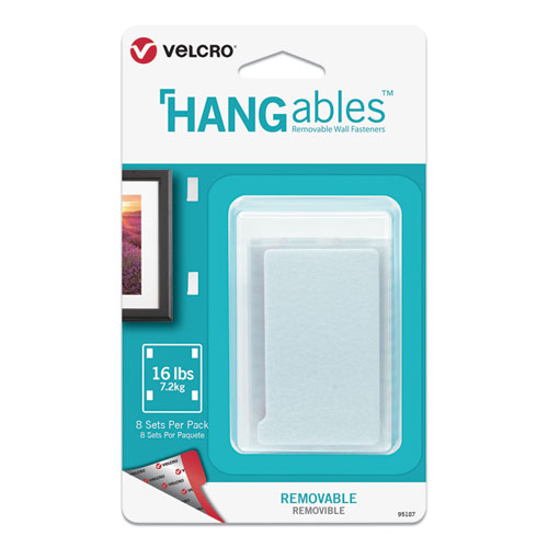 HANGables Removable Wall Fasteners, 1.75 x 3, White, 8/Pack