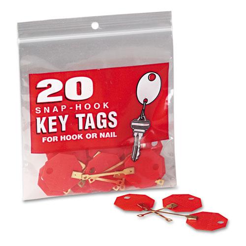 Snap-Hook Self-Locking Octagonal Plastid Key Tags, 1 1/4 Diameter, Red, 20/Pack
