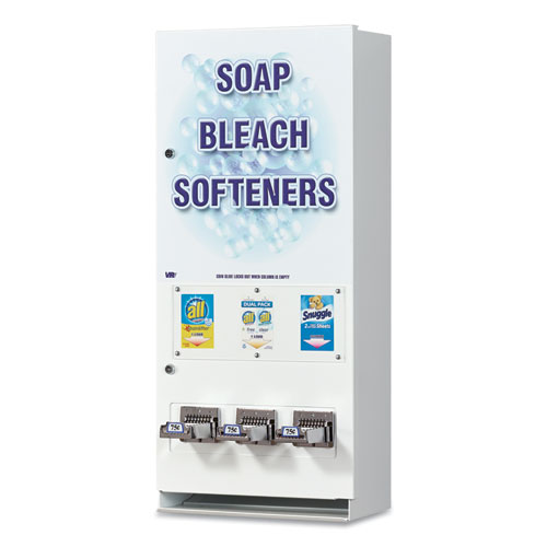 "Vend-Rite Coin-Operated Soap Vender, 3-Column, 16.25"" x 37.75"" x 9.5"", White/Blue"