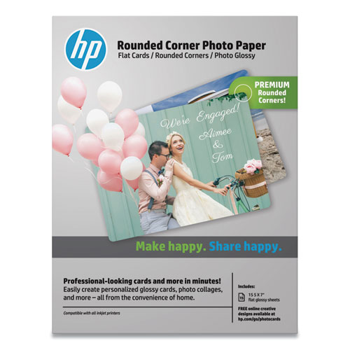 Rounded Corner Photo Paper, 10.5 mil, 5 x 7, Glossy White, 15/Pack