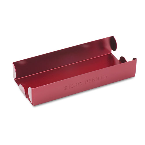Rolled Coin Aluminum Tray w/Denomination & Quantity Etched on Side, Red | by Plexsupply