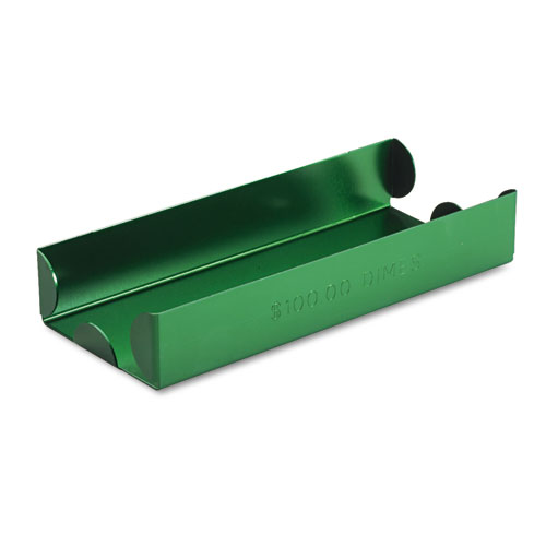 Rolled Coin Aluminum Tray w/Denomination  Quantity Etched on Side, Green