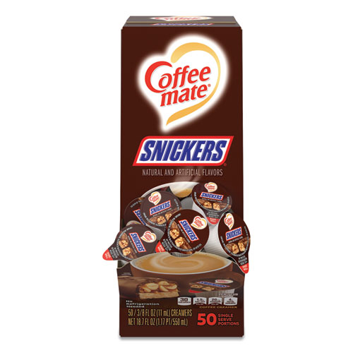 Liquid Coffee Creamer, Snickers, 0.38 oz Mini Cups, 50 Cups/Box