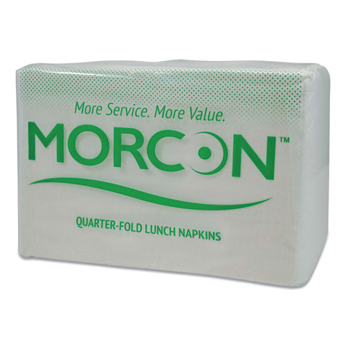Morsoft 1/4 Fold Lunch Napkins, 1 Ply, 11.5 x 11.5, White, 6,000/Carton