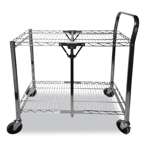 Stowaway Folding Carts, 2 Shelves, 35w x 37.25d x 22h, Chrome, 250 lb Capacity