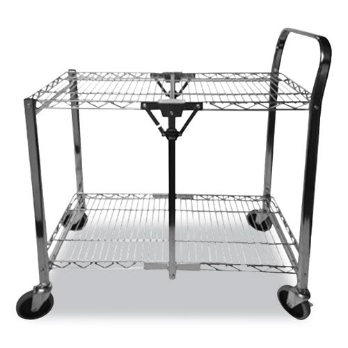 Stowaway Folding Carts, 2 Shelves, 29.63w x 37.25d x 18h, Chrome, 250 lb Capacity
