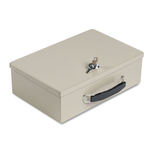 Heavy-Duty Steel Fire-Retardant Security Cash Box, Key Lock, Sand | by Plexsupply