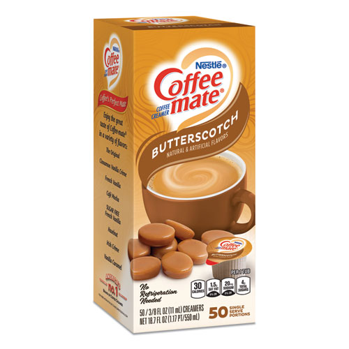 Liquid Coffee Creamer, Butterscotch, 0.38 oz Mini Cups, 50 Cups/Box
