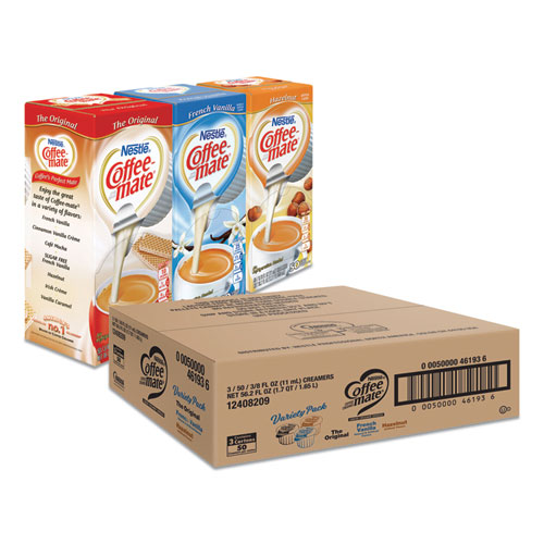 Liquid Coffee Creamer, French Vanilla/Hazelnut/Original, 0.38 oz Mini Cups, 150 Cups/Carton