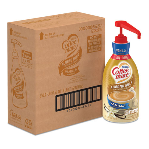 Liquid Coffee Creamer, Vanilla Almond Milk, 1.5 L Pump Bottle, 2/Carton