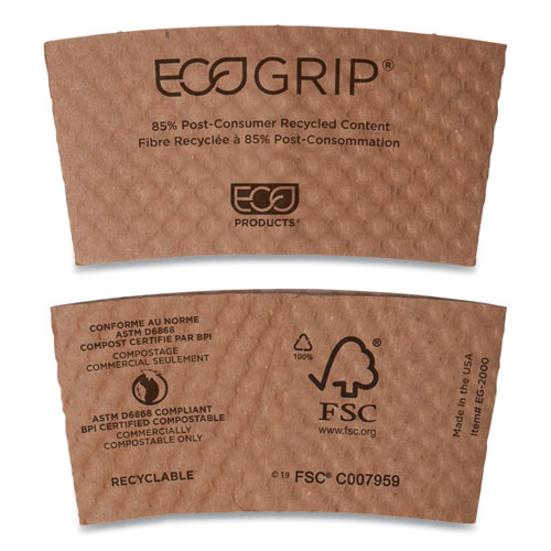 EcoGrip Hot Cup Sleeves - Renewable and Compostable, 1300/CT