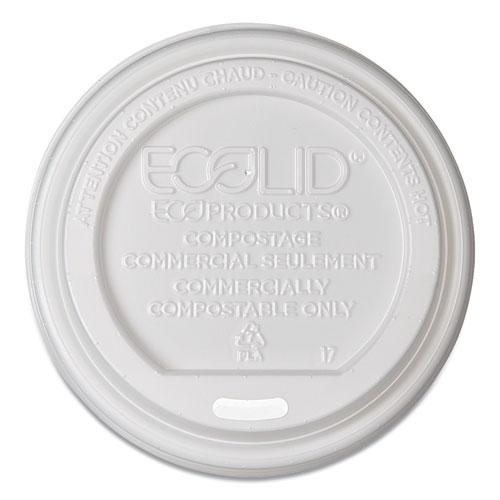 EcoLid Renewable/Compostable Hot Cup Lids, PLA, Fits 8 oz Hot Cups, 50/Packs, 16 Packs/Carton