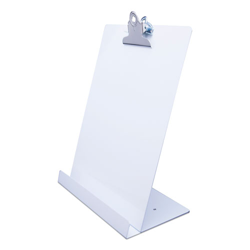 Free Standing Clipboard and Tablet Stand, 1 Clip Capacity, Holds 8.5 x 11, White