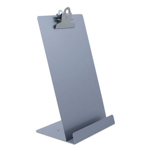 Free Standing Clipboard and Tablet Stand, 1 Clip Capacity, Holds 6.5 x 11, Silver