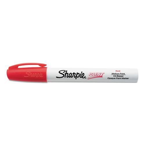 Permanent Paint Marker, Medium Bullet Tip, Red, Dozen