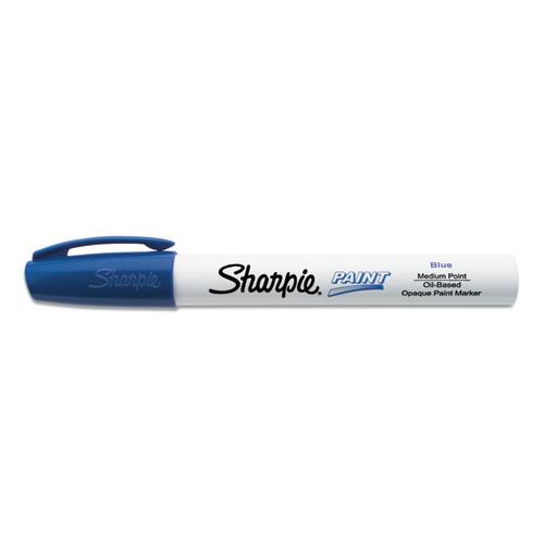 Permanent Paint Marker, Medium Bullet Tip, Blue, Dozen