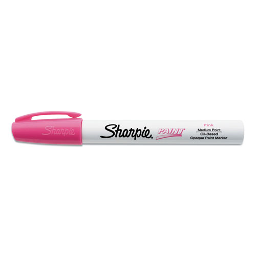 Permanent Paint Marker, Medium Bullet Tip, Pink, Dozen