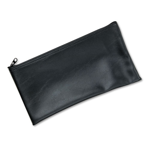 Leatherette Zippered Wallet, Leather-Like Vinyl, 11w x 6h, Black | by Plexsupply