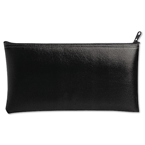 MMF Industries™ Leatherette Zippered Wallet, Leather-Like Vinyl, 11w x 6h, Black