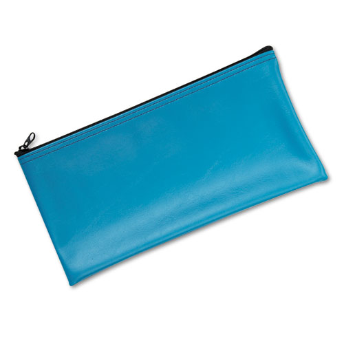 Leatherette Zippered Wallet, Leather-Like Vinyl, 11w x 6h, Marine Blue | by Plexsupply