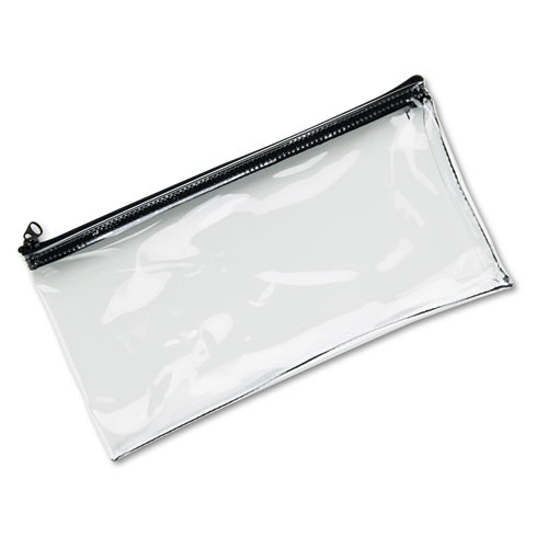 Leatherette Zippered Wallet, Leather-Like Vinyl, 11w x 6h, Clear | by Plexsupply