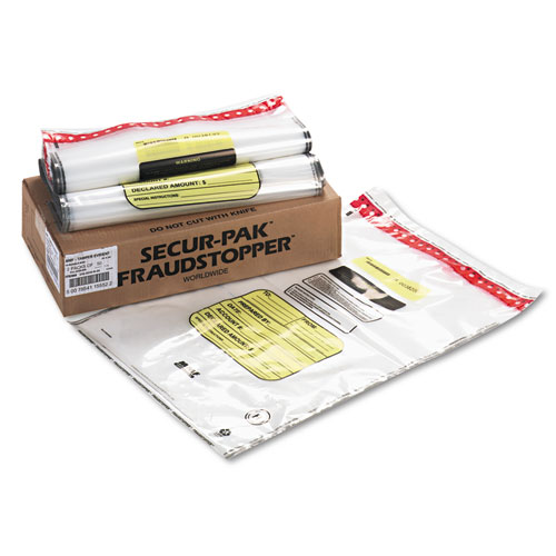 16 Bundle Capacity Tamper-Evident Cash Bags, 20 x 28, Clear, 100 Bags/Box