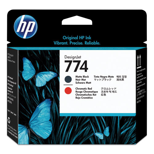 HP 774, (P2V97A) Chromatic Red/Matte Black Printhead